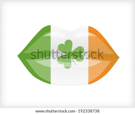 Woman lips with Irish flag - stock vector