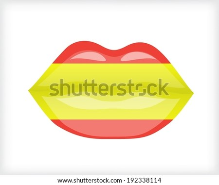 Woman lips with Spanish flag - stock vector
