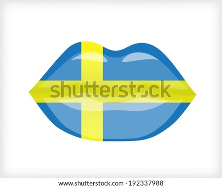 Woman lips with Sweden flag - stock vector