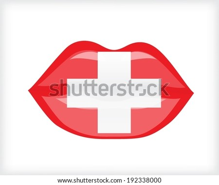 Woman lips with Switzerland flag - stock vector