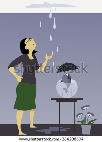 Woman looking at a dripping leak on the ceiling, fish in a bowl holding an umbrella, vector illustration, no transparencies, EPS 8  - stock vector