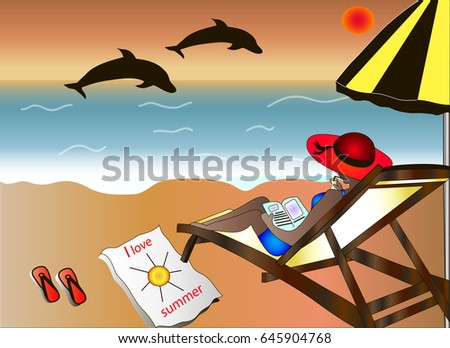 Woman Lying On The Beach Sunset Background EPS 10 Vector
