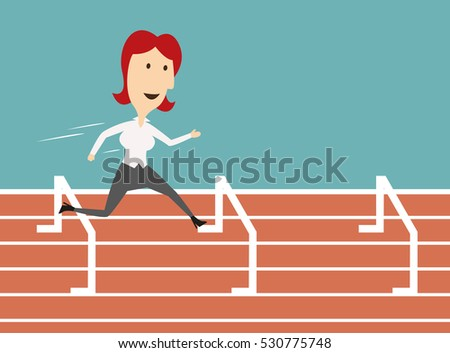Woman manager run on sport track and jump over barrier. Business metaphor of overcoming obstacles and successful job career achievement. Vector illustration.