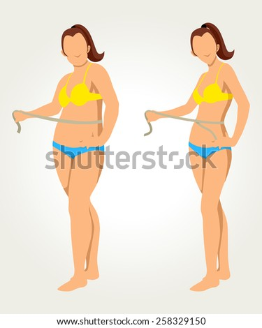 Woman measuring her waist, before and after concept for diet programs - stock vector