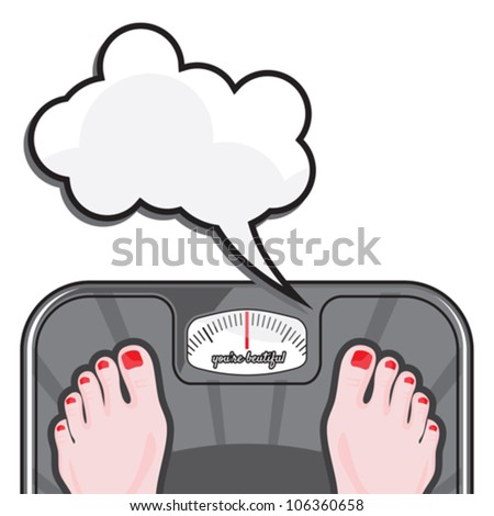Woman measuring her weight on a balance - stock vector