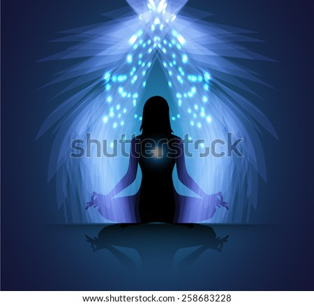 woman meditate blue abstract radius background, yoga.