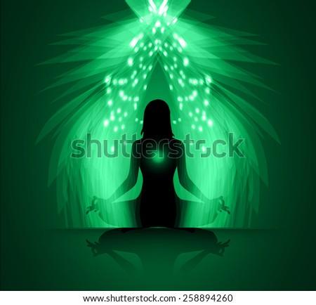 woman meditate green abstract radius background, yoga. - stock vector