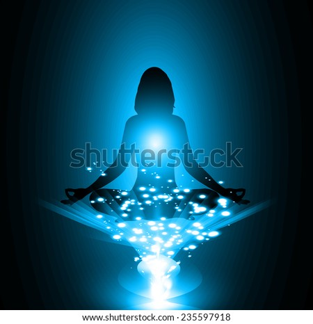 woman meditate, yoga. blue background.  - stock vector