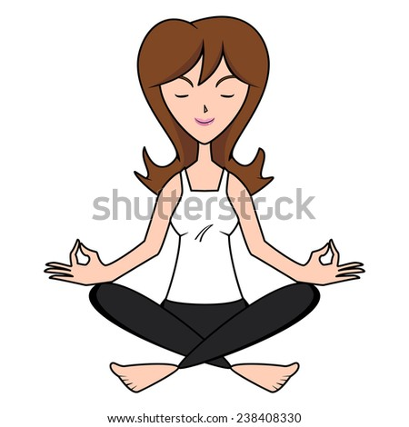 Woman meditating, lotus yoga position, vector illustration - stock vector