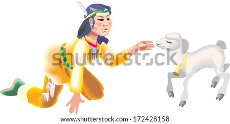 Woman native American Indian - stock vector