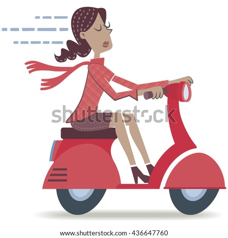 Woman on a scooter. Retro style illustration of a woman traveling on a motorbike. EPS10 file.
