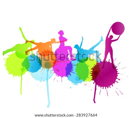Woman on fitness ball exercises vector background concept with color splashes - stock vector