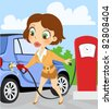 woman on gas station - stock vector