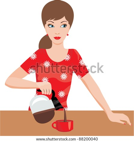 Woman on kitchen pours coffee. vector, no gradient - stock vector