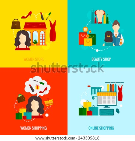 Woman online shopping design concepts set with beauty store flat icons set isolated vector illustration - stock vector