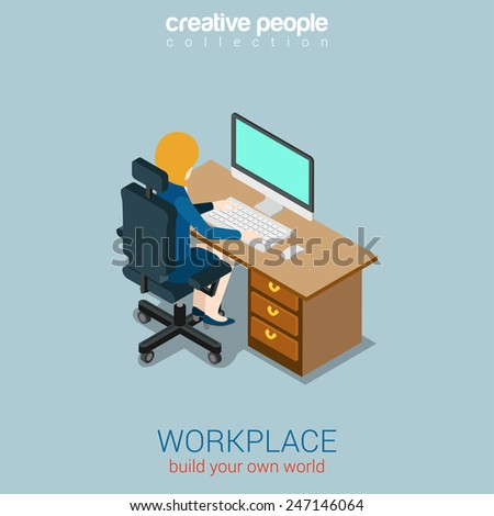 Woman operator manager workplace flat 3d web isometric infographic concept vector. Build your own world creative people collection. - stock vector