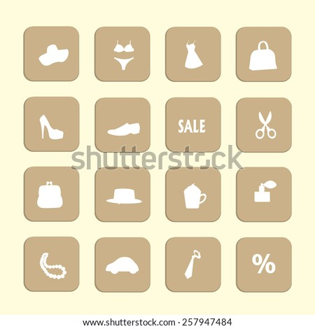 Woman or girl - beauty and fashion vector icons set - stock vector
