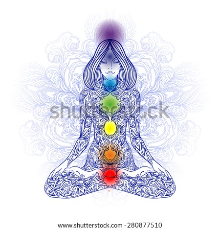 Woman ornate silhouette sitting in lotus pose. Meditation, aura and chakras. Vector illustration. - stock vector