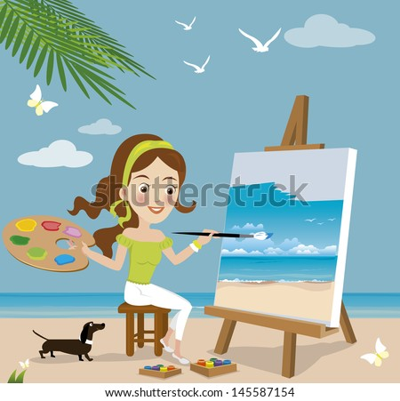 Woman paint on canvas. - stock vector