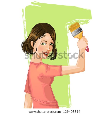 Woman paints the wall - stock vector