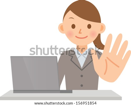 woman PC - stock vector