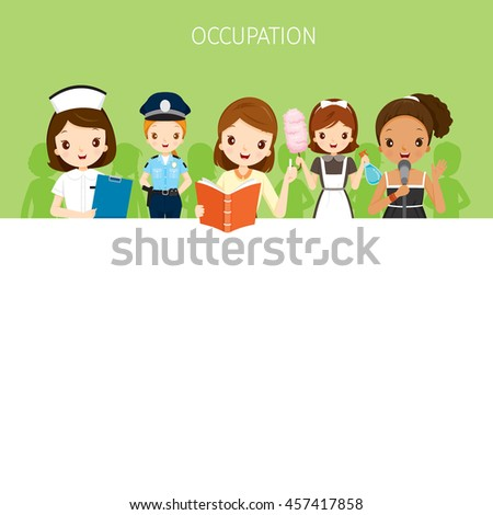 Woman, People With Different Occupations Set On Banner, Profession, Avatar, Worker, Job, Duty - stock vector