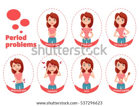 Woman period problems vector illustration. Young and cute girl shows different symptoms and cases during menstruation.