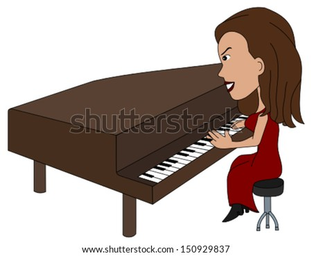 Woman piano player cartoon / illustration, coloring book line-art