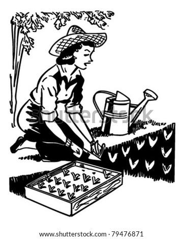 Woman Planting Garden - Retro Clipart Illustration - stock vector