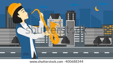 Woman playing saxophone. - stock vector