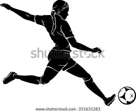 Girl Soccer Silhouette Vector Women Playing Soccer S...