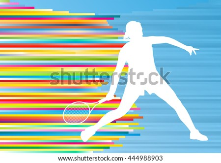 Woman playing tennis vector background concept