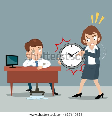 Woman pointing finger at watch working time while worker sleep at office desk, vector illustration cartoon