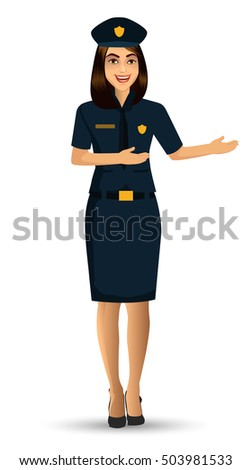Woman Police officer avatar illustration, police woman character design with standing position. Vector illustration Isolated on white background.