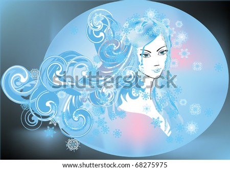 woman portrait with snowflake curls illustration
