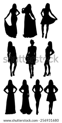 Woman posing silhouettes - stock vector