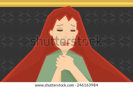 woman praying - stock vector