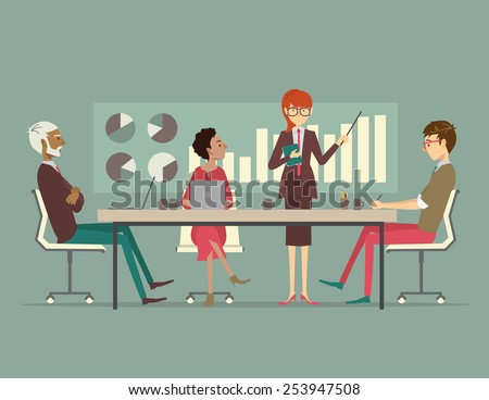 Woman presenting a growth chart at a meeting  - stock vector