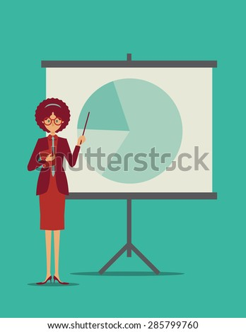 Woman presenting a pie chart - stock vector