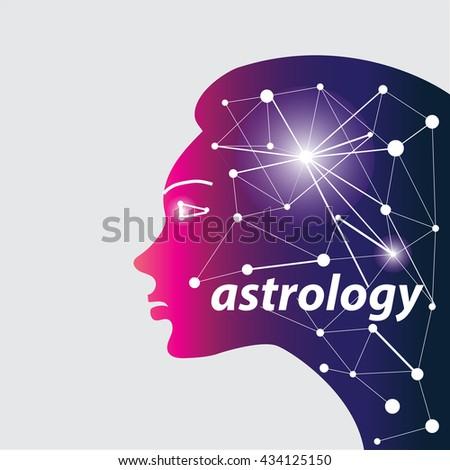 Woman profile astrology symbol - stock vector