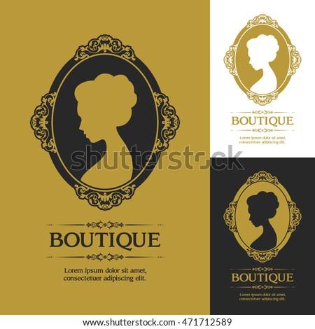 Woman profile classic victorian style vector stock vector 471712589 woman profile in classic victorian style vector logo template flourishes calligraphic elegant ornamental design logo stopboris Images