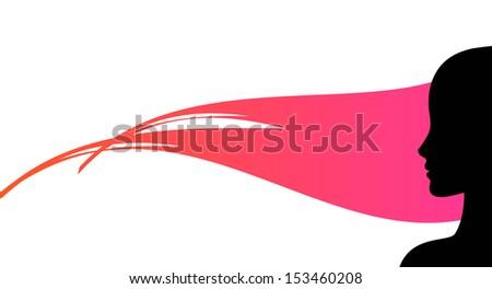 woman profile silhouette conceptual vector illustration - stock vector