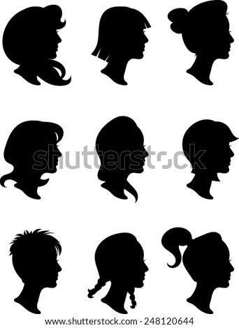 Woman Profile Silhouettes - Vector Image - stock vector