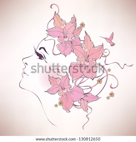 Woman profile with flowers - stock vector