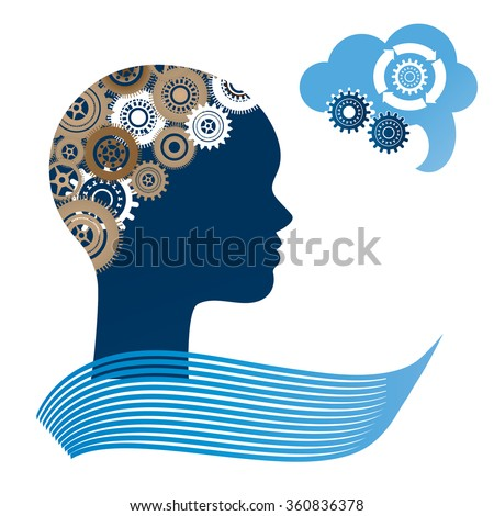 Woman profile with gears for brain and speech bubble  - stock vector