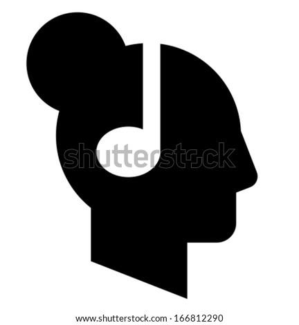 Woman profile with headphones icon - stock vector
