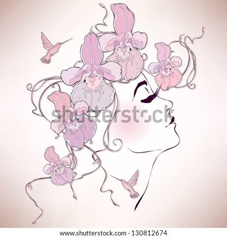 Woman profile with orchids - stock vector