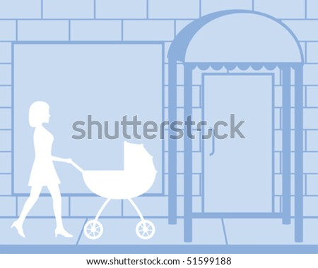 Woman Pushing Carriage Silhouette Vector - stock vector
