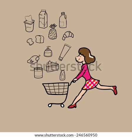 Woman pushing shopping cart cartoon vector - stock vector