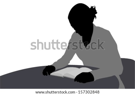 woman reading book illustration - stock vector
